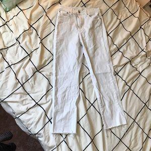 Uniqlo White Raw Hem Jeans